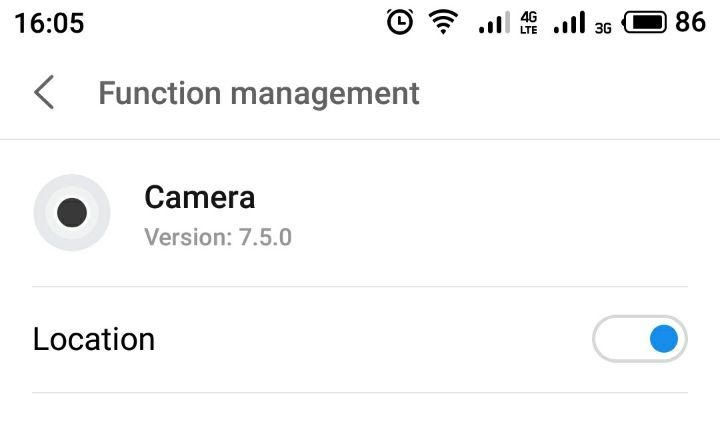 Camera location switch